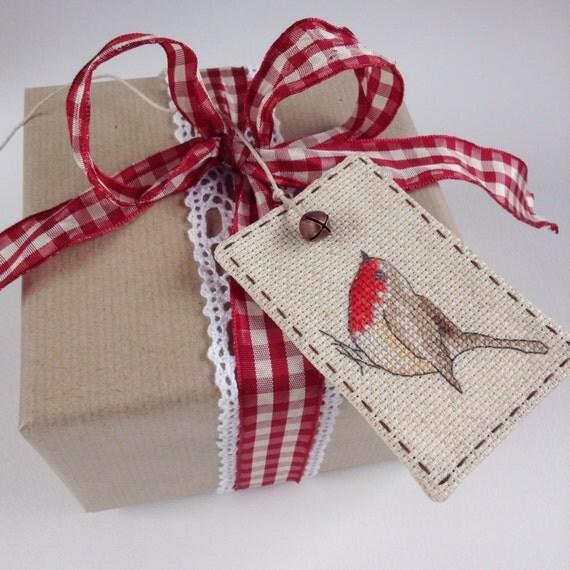 Robin gift tag cross stitch