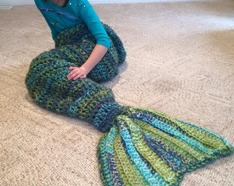 Mermaid Blanket  Mermaid Tail Blanket  Handmade Mermaid Blanket  Crochet Mermaid Tail Blanket Made to Order and Ready to Ship
