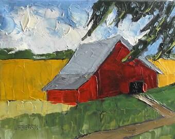 Impressionist Painting California Farm Red Barn Plein Air Landscape Original Art Lynne French 11x14