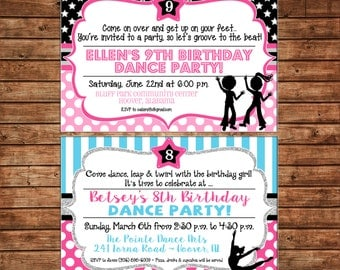 Dance Party Rockstar Dancing DJ Hip Hop Boys and Girls Party Birthday Invitation - DIGITAL FILE