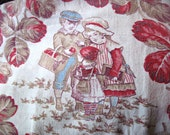 Vintage fabric piece, pillow fabric, decorative cotton, cotton fabric, french country style, home decor fabric, fabric remnant