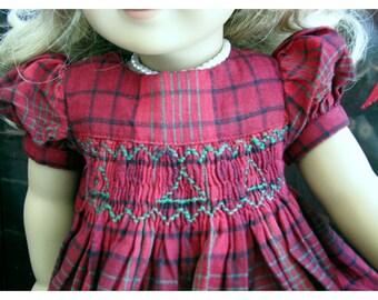 2016 Christmas Dress Homespun Plaid for 18 Inch Dolls like American Girl Dolls