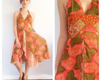 Vintage 70s psychadellic Halter Dress