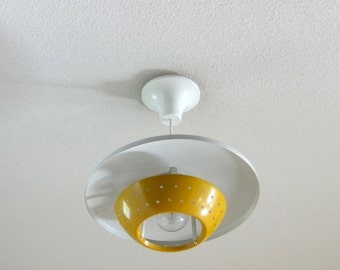 Ceiling lamp from 1960, yellow and white color, spaceship look