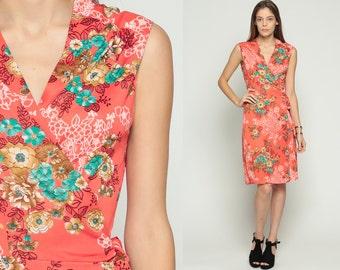 70s Wrap Dress Midi Floral Print 1970s Boho Deep V Bohemian Sleeveless Vintage High Waist Retro Orange Summer Turquoise Small