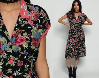 Floral Dress 80s Does 40s GRUNGE Boho Button Up Midi 1980s Black Pink Vintage V Neck 90s Short Cap Sleeve Princess Seam Bohemian Small