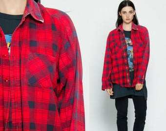 Red plaid shirt 90s flannel checkered grunge 1990s lumberjack for Navy blue and red flannel shirt