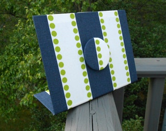 Staff Gift Idea, Magnet Board, Fabric Magnet Board, Employee Recognition Gift, Navy Chartreuse Lulu Fabric, Freestanding Desktop Design