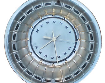 Ford Mercury Hubcap Clock, with numbering (a, vintage wall clock, retro wall clock )