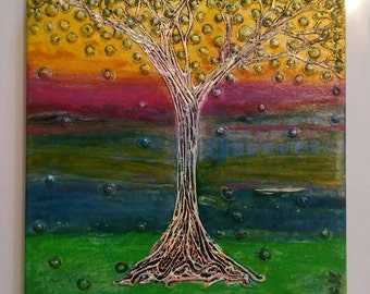 Tree Original Abstract Painting 12x12 Handpainted Acrylic Colorful Unique Heather Montgomery Art Ready to ship