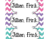 30 Custom chevron Name Stickers | Personalized preschool Girl Labels | Kids School Supplies No.N12