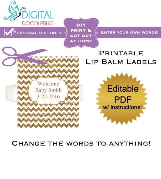 diy printable lip balm labels editable gold glitter chevron. Black Bedroom Furniture Sets. Home Design Ideas