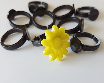 Children's Ring Blank Acrylic Black (10)