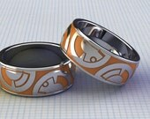 Custom Band for Him, BB8 Ring, BB8 Jewelry, Yellow and Silver Ring for Him