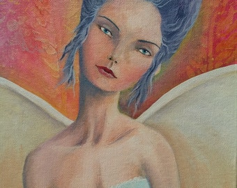 Original Mixed Media Fantasy Fairy Fae Girl Painting By Sujati Art Studio