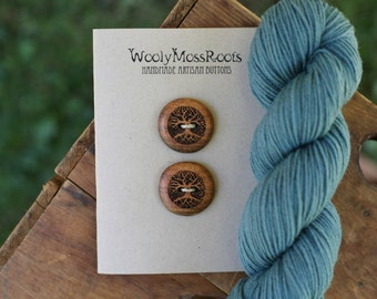 2 Wood Tree Buttons- Oregon Madrone Wood- Wooden Buttons- Eco Craft Supplies, Eco Knitting Supplies, Eco Sewing Supplies