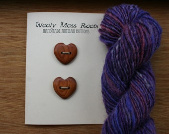 2 Yew Wood Heart Buttons- Handmade Wooden Buttons in Oregon Yew- Knitting, Sewing, Craft Buttons