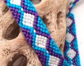 Blue & purple diamond pattern friendship bracelet