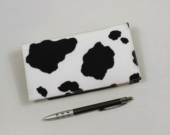 Cow Print Checkbook Cover for Duplicate Checks with Pen Holder - Black and White Cow Print