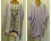 Lavender Retro Caftan Tunic Top 2X, 3X, 4X, 5X, 6X, Gauze Lattice Yarn, Pom Pom Lagenlook  Designer Print