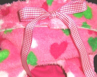 Dog Diapers Britches or Panties Ultra ULTRA Soft Pink Knit Fleece with Pink and Green Hearts on a Pink Background