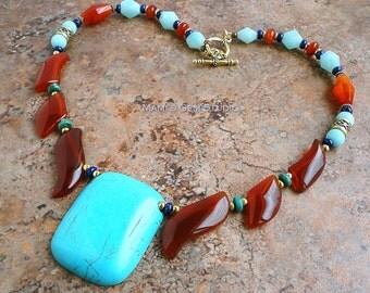 Gemstone Fan Necklace, Carnelian, Blue Magnesite, Turquoise, Lapis Lazuli, Amazonite, Antiqued Gold Brass, Boho Gypsy, Tribal, Southwestern