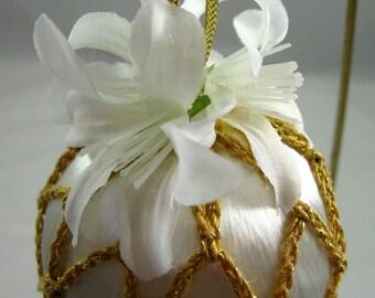 Gold Crochet Covered White Satin Ornament 130