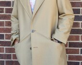 70% OFF CLEARANCE Mens Vintage 70s Overcoat Tan Zip Fur Lining Size 44