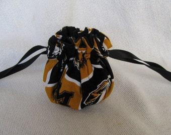 College Team Jewelry Bag - Mini Size - Drawstring Tote -Jewelry Pouch - MISSOURI TIGERS