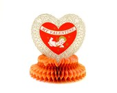 Vintage Beistle Standing Honeycomb Valentine's Decoration / Heart, Cupid, Bow and Arrow
