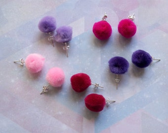 Pom Pom Stud Earrings