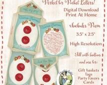 Button Envelope Pocket Letter Digital Download Printable Vintage Style Gift Tag Card Favor Scrapbook DIY Craft Image Collage Sheet Art