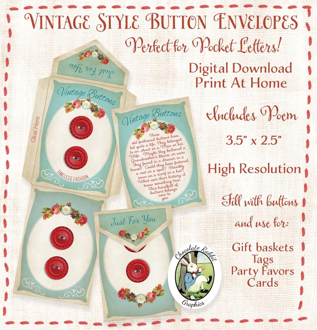 Scrapbook paper envelope template - Button Envelope Pocket Letter Digital Download Printable Vintage Style Gift Tag Card Favor Scrapbook Diy Craft Image Collage Sheet Art