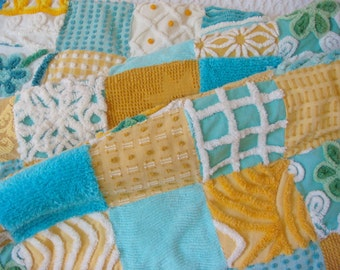MALIBU SUNRISE ~ a Made-to-Order Vintage Cotton Chenille Patchwork Quilt
