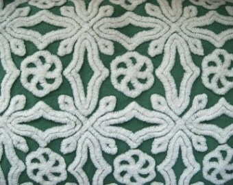 Green Hofmann Vintage Chenille Bedspread Fabric 15 x 17 Inches