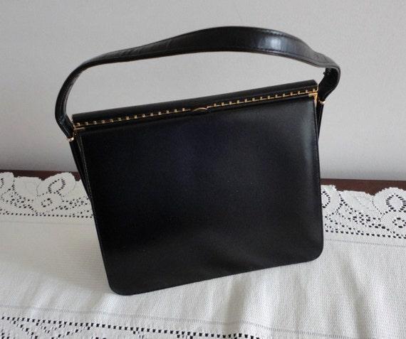 70s black leather hardsided handbag purse coret made in canada