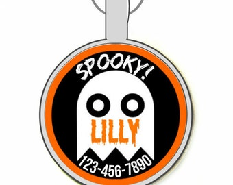 Halloween Ghost Personalized Dog ID Pet Tag Custom Pet Tag You Choose Tag Size & Font