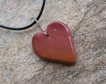 Mookaite Jasper heart necklace - natural stone jewelry in carmine  handmade in Australia