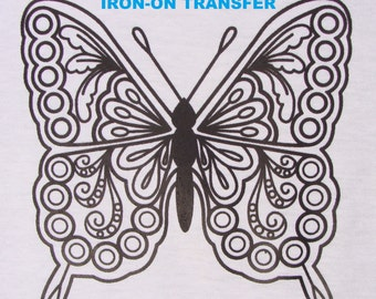 Butterfly TRANSFER Iron On Heat Press DIY for T shirts Totes Adult Coloring Page Wings Zendoodle Color w Fabric Markers Gift Party Favor