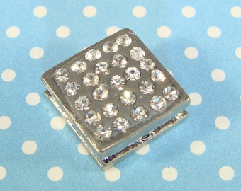 3 Square Rhinestone Beads Charms 12mm Silver w Crystals in Polymer Clay Slider Bracelet Bar Connector (427SC) Grooved Bulk Jewelry Supplies