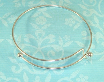10 SILVER Bangle Bracelet Blanks 7 1/2 inch Expandable Add Charms & Gem Dangles to Personalize Bulk Jewelry Making Supplies Findings