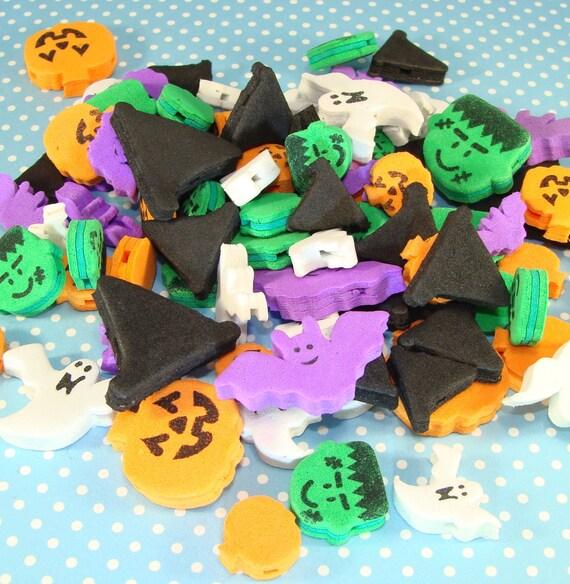 200 halloween foam beads kids crafts pumpkin bat ghost witch. Black Bedroom Furniture Sets. Home Design Ideas