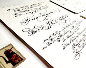 "Wedding Invitation // hand calligraphy letterpress with Edge Painting on Duplex Love No. 4, ""Mansfield Park"""