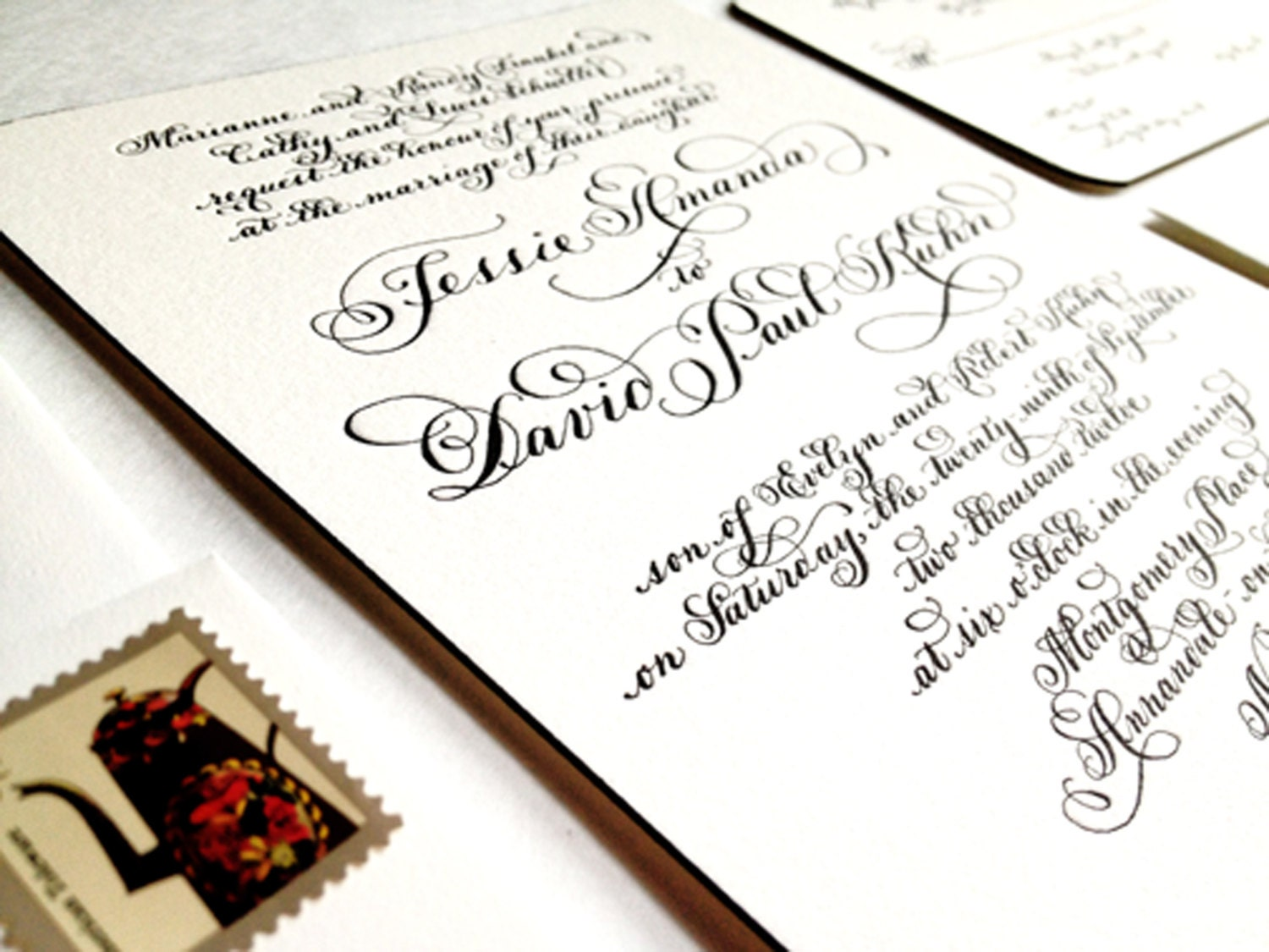 Wedding Invitation Hand Calligraphy Letterpress With Edge