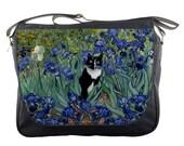 Tuxedo Cat In Van Gogh's Purple Iris Garden - Messenger Bag