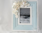 "Beach Cottage Decor Seashell Picture Frame, Seashell Frame, Beach Decor Shell Picture Frame, Nautical Decor, Lt Blue 4x6"" - #LBF46"