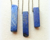 Lapis lazuli stick necklace on brass chain third eye jewelry throat chakra lapis lazuli necklace everyday
