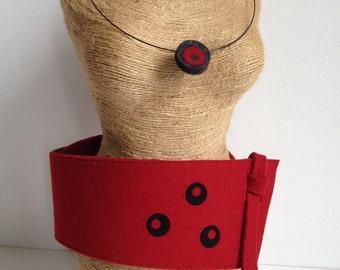 Obi Belt in Red and Black Felt, Wool Obi Belt, Sash, Red and Black Belt