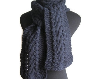 Navy Knit Scarf,  Cable and Lace Scarf, Mens Scarf, Winter Accessories, Dark Blue Scarf, Mens Cable Scarf, Winter Scarf, The Stef Scarf
