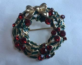 Vintage Liz Claiborne Christmas Wreath Enamel & Rhinestones